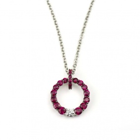 18k White Gold Ruby & Diamond Circle Pendant
